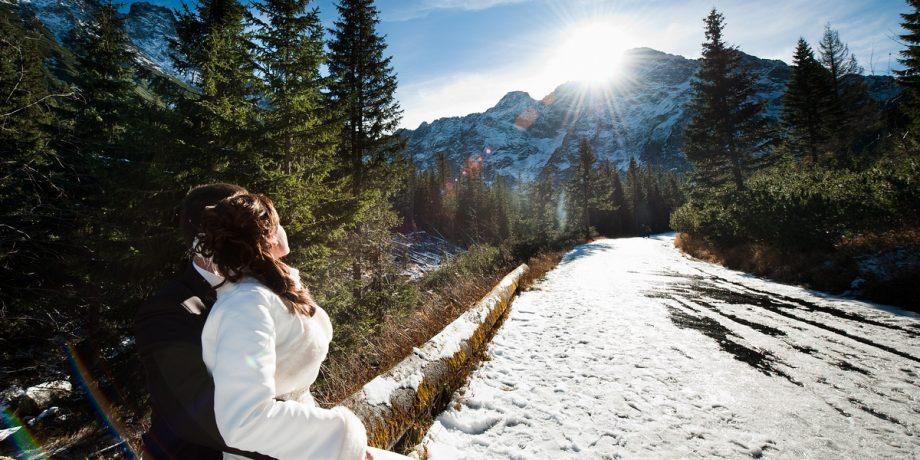 śnieg słońce cudny plener ślubny super Pary z Bielska